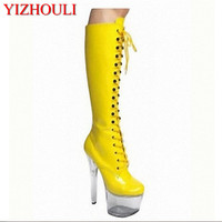 European and American 15CM fine heel, front lace up boots, slim women sexy , patent leather high heels Dance Shoes