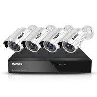 TMEZON 4CH CCTV Системы 4 шт. 720 P Открытый Всепогодный Безопасности Камера 4CH 1080N DVR День/Ночь комплект видео наблюдения Системы