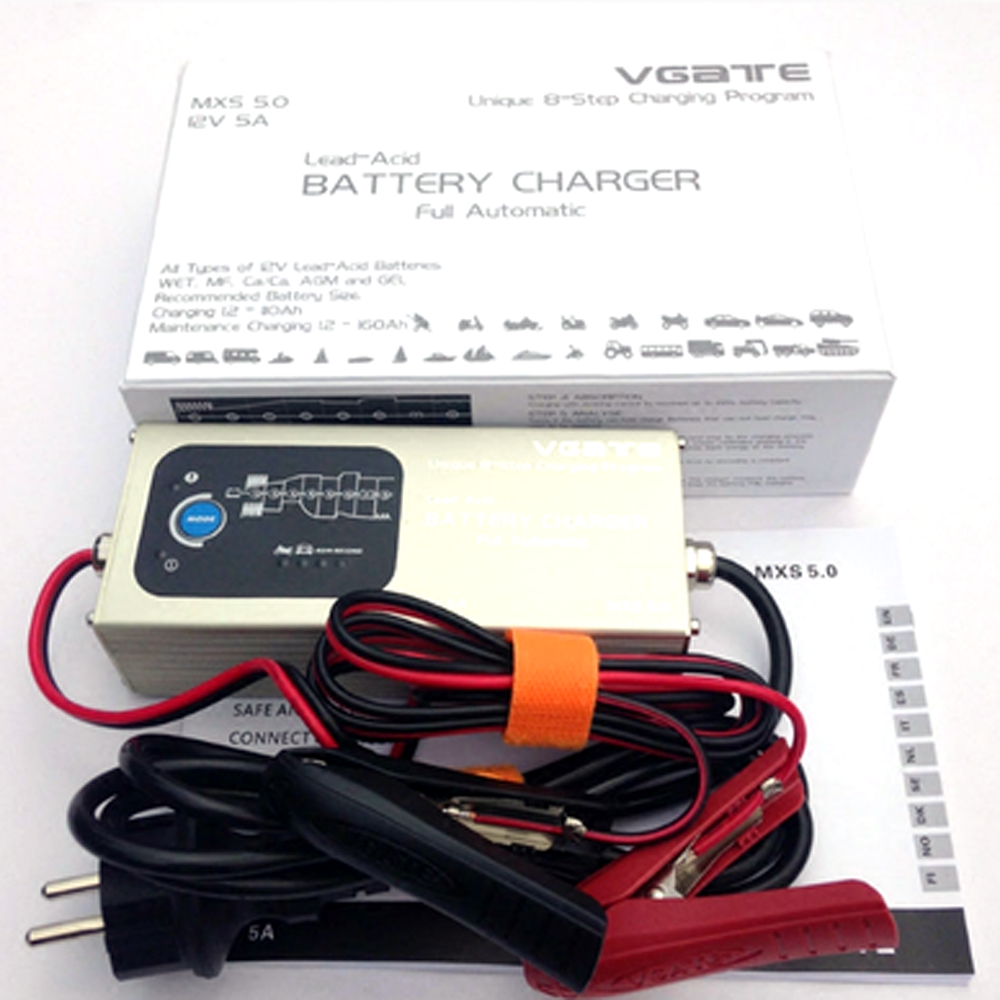 Smart Lead Acid Battery Charger Fully Automatic 8 Steps Charging Maintenance Program 12V 5A with Temperature Compensation LR5 220v to dc 24v battery charger for lead acid battery