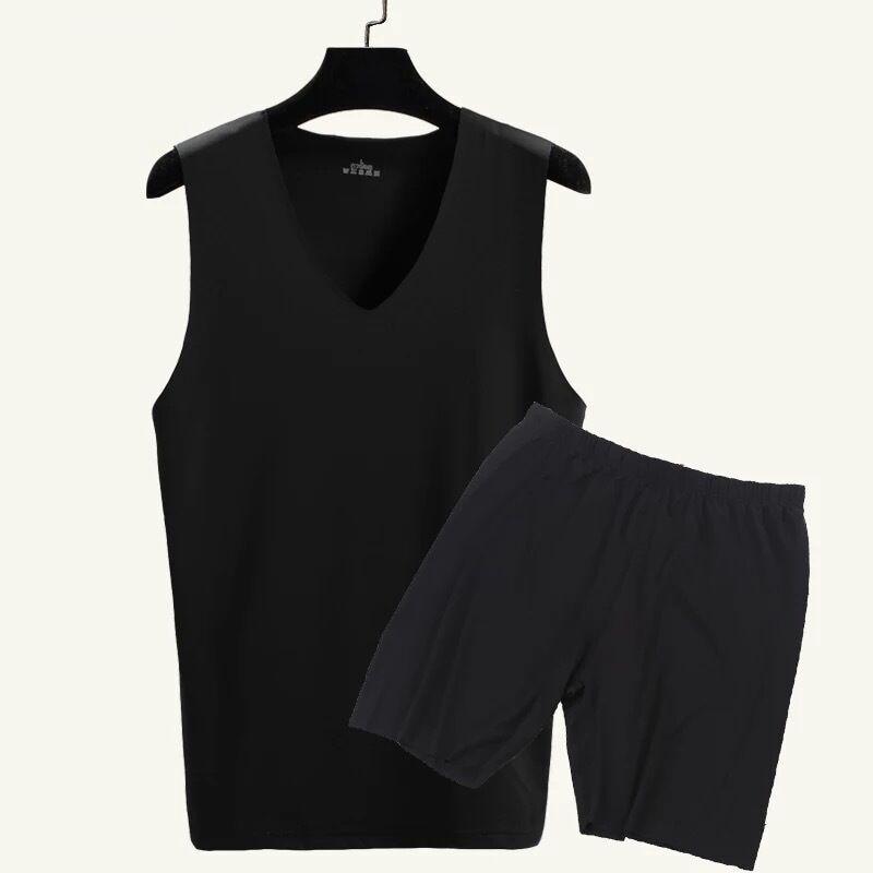 2019 Pijama Hombre Men Underwear Men Thin Ice Silk Tops+Pants 2 Piece Set Pajamas Sleepwear Man Nightwear