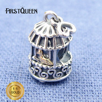 FirstQueen Silver and 14k real GoldSong Bird Charm Bead Fit Bracelets DIY Charms Pendants Jewelry Making Fine Jewelry