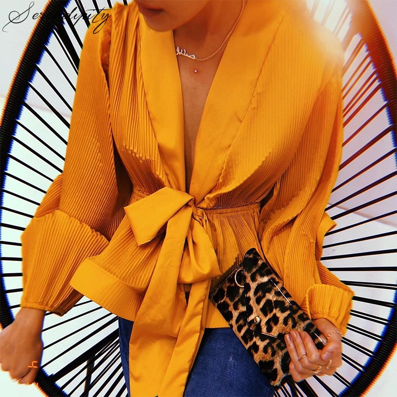 Chiffon Pleated Ruffle Deep V Neck Blouse Shirt Women Tie Bow Summer Feminina Lantern Sleeve Casual Chemisier Femme Top Blusas