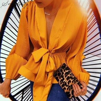 Chiffon Pleated Ruffle Female V Neck Blouse Shirt for Women Feminina Lantern Sleeve Elegant Chemisier Top Blusa Chemise Femme lace applique lantern sleeve cold shoulder top