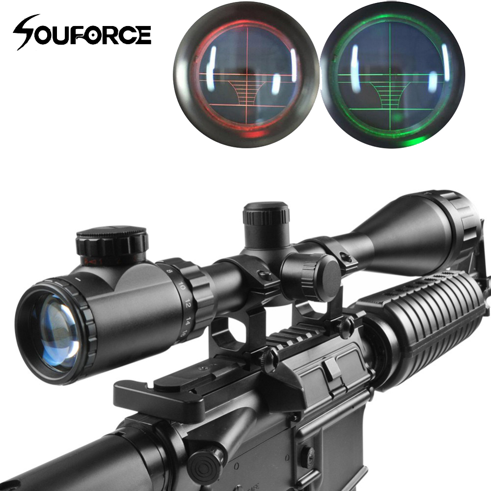 6-24X50AOEG Green/Red Tactical Rifle Scope Rangefinder with Holographic Reticle Sight for Rifle and Airsoft with 20mm Mount Ring цена
