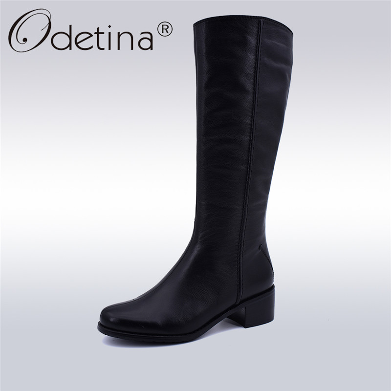 Odetina High Quality Cow Leather Thick Wool Classic Riding Boots Women Zip Chunky Heels Women Mid Calf Equestrian Boots Winter