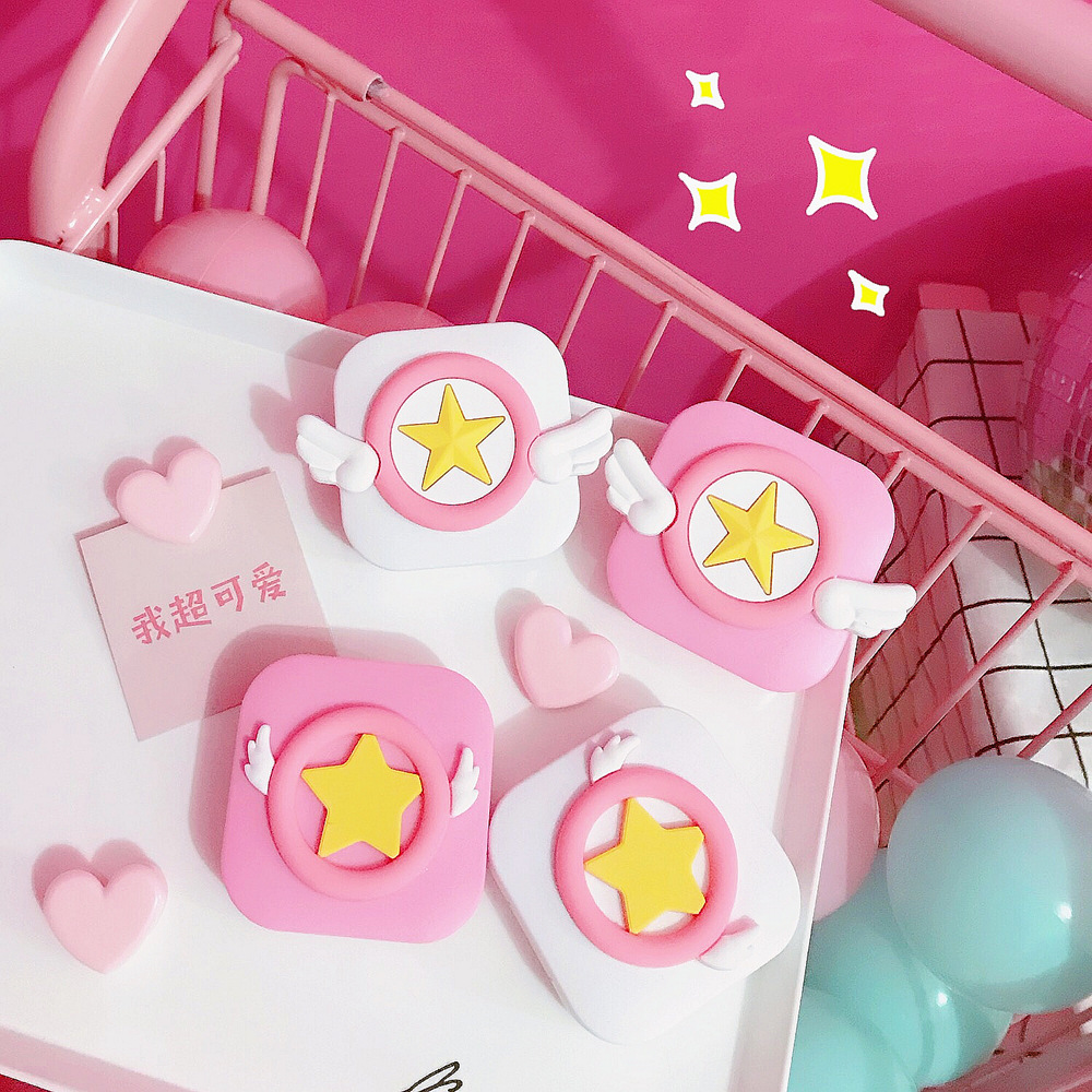 Japan And South Korea Cartoon Harajuku Soft Girl Heart Contact Lens Storage Box Sakura Wings Double Box Storage Box