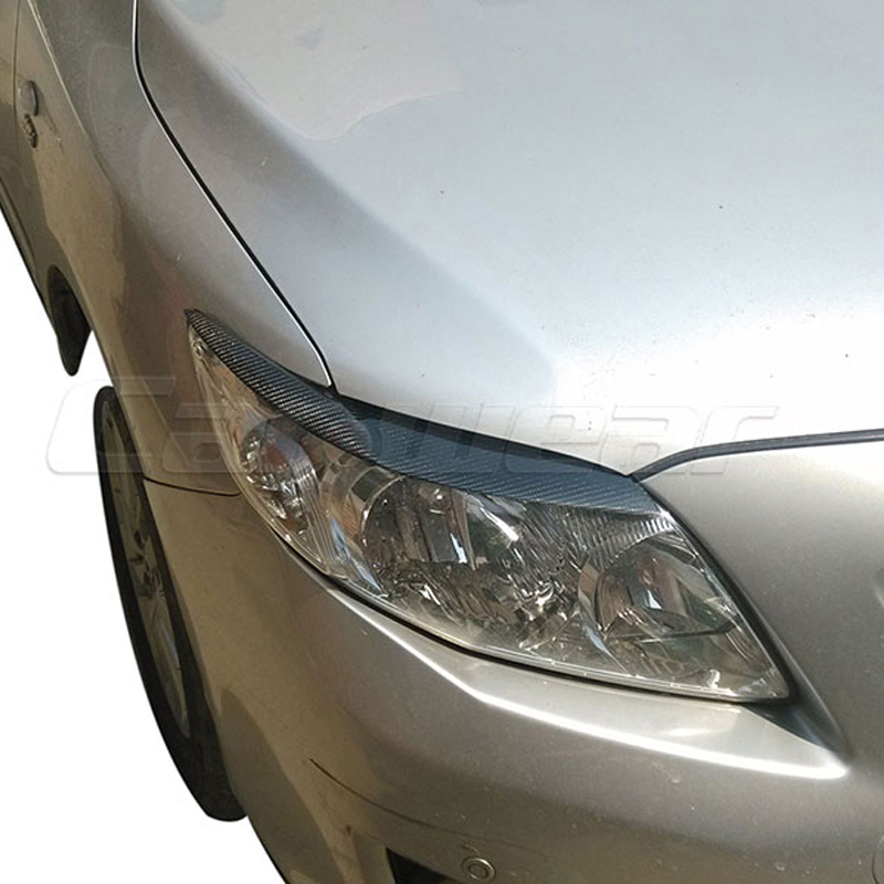for 2006-2013 Toyota Corolla Carbon Fiber Headlight Eyebrows Eyelids Cover ...