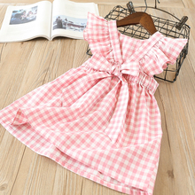 hot deal buy hurave summer sleeveless plaid baby girl clothes ruffles backless children dress crew neck baby dresses kids clothing