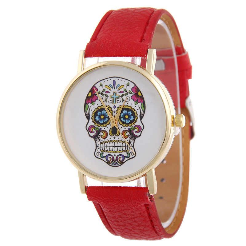 Reloj de pulsera de cuero a la moda Reloj de calavera de Mujer Reloj de pulsera de Mujer esqueleto de oro rosa Mujer relojes Envío Directo
