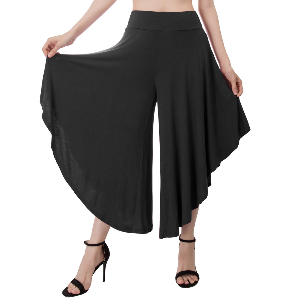plus size women pants 2018 summer casual Cropped Length Elastic Waist Wide Leg Pants Palazzo Capri Pants