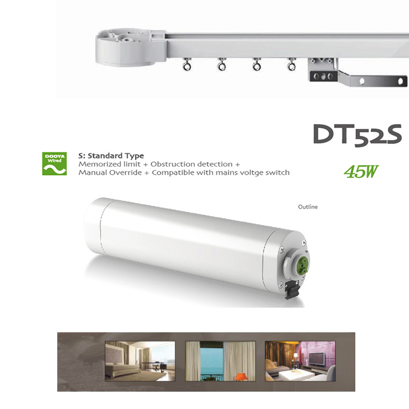 Dooya DT52S Electric Curtain Motor 220V Motor Smart Home Motorized track 1.5M-4M dooya dt52s electric curtain motor 220v open closing window curtain track motor smart home motorized 45w 75w curtain motor