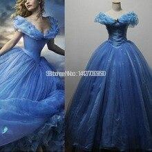 DHL Высокое качество изготовление на заказ фильм Золушка Принцесса небесно-голубое платье