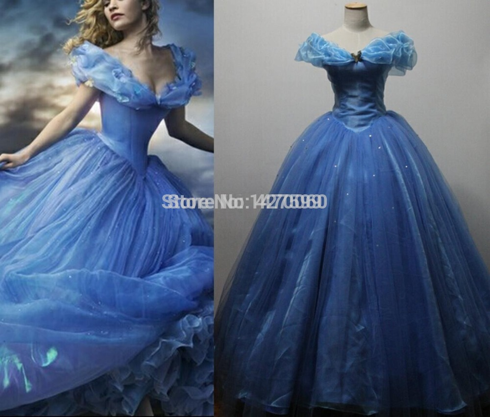 Free DHL Shipping  High quality Custom-made 2015 New Movie Cinderella Princess Sky Blue Dress