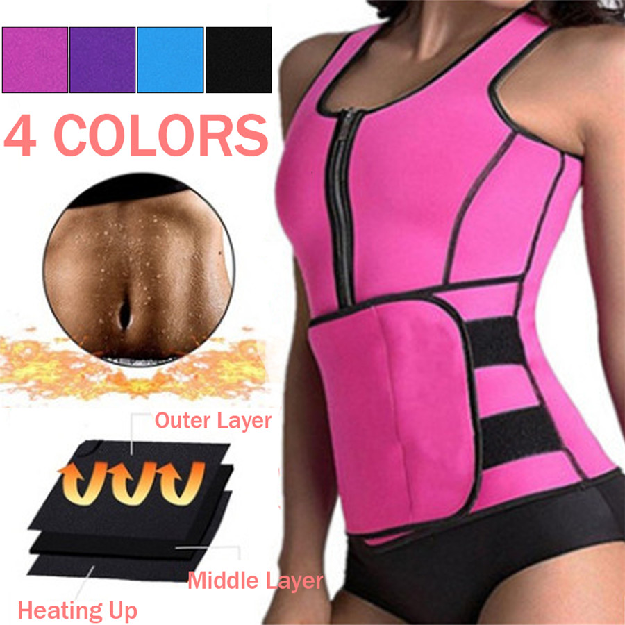 Women Sauna Waist Trainer Vest Gym Adjustable Slimming Sweat Belt Workout Zipper Body Shaper Sexy Shaper Workout Vest 2019 New