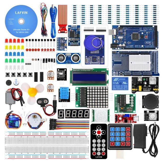 LAFVIN Mega 2560 Kit completo de iniciación, incluye LCD1602 IIC/Sensor ultrasónico para Arduino con Tutorial