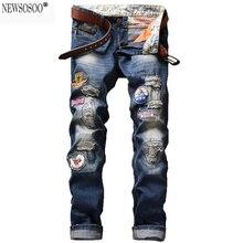 Newsosoo Бренд мужской моды знак патч отверстия рваные джинсы Вскользь уменьшают прямые брюки джинсовые проблемные джинсы masculino MJ73