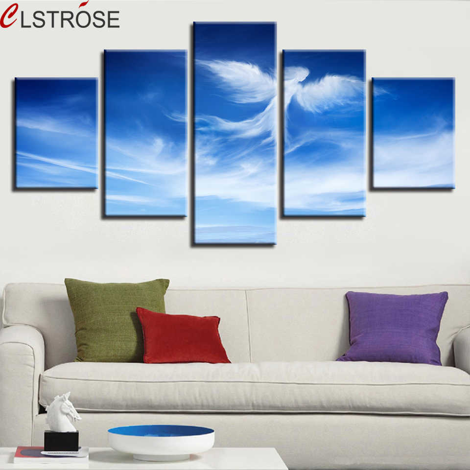 CLSTROSE Pictures HD Printed Decoration Modern Wall 5 Pcs Blue Sky Angel Cloud Shape Scenery Canvas Paintings Art Modular Poster