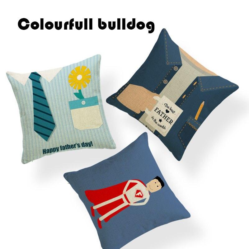 Fathers Day Pillow Plaid shirt Cushion Case Tie Classic Moustache Cute Office Glasses Square Linen Belt Settee Fundas Cojin
