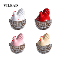 VILEAD 24cm Resin Hen Storage Iron Basket Creative Animals Eggs Fruits Storage Box Garlic Potato Sundries Home Decoration Hogar