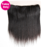 [TODAY ONLY] Brazilian Straight Hair 13X4 Ear to Ear Lace Frontal Closure With Baby Hair 100% Human Hair Bundles Non Remy Hair