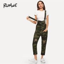 e9ac916f5c431 ROMWE Button Front Camo Denim Overalls Women Jumpsuit 2019 Swish Autumn Mid  Waist Sleeveless Camouflage Pocket Tank Jumpsuit