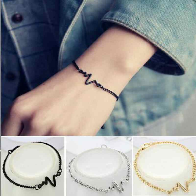 2018 New Fashion Simple Personality Bileklik Ecg Figure Lightning Bracelet Couple Heartbeat Frequency Bracelet Pulseras Mujer