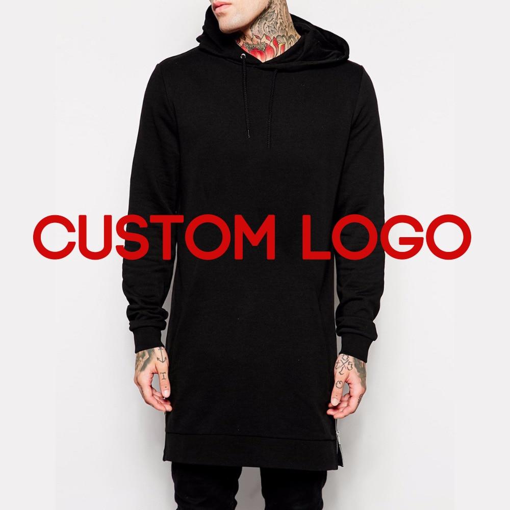Side Zipper Hiphop Extra Long Hoodie Men Oversized Hip Hop Streetwear Custom Logo With Your Own Design
