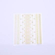 Geometric Patterns 3D Nail Sticker Decals Adhesive Moon Star Gold Stripes Wave Line Manicure DIY Nail Art Decoration 1 Sheet