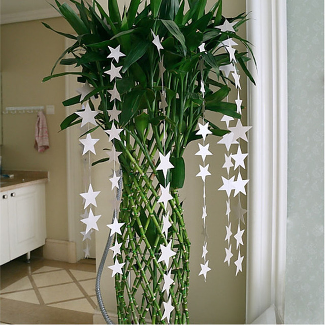 Actionclub 4M Star Garland Papercard Birthday Party Decorations Blue Golden Silver DIY Wall Hanging Props Christmas