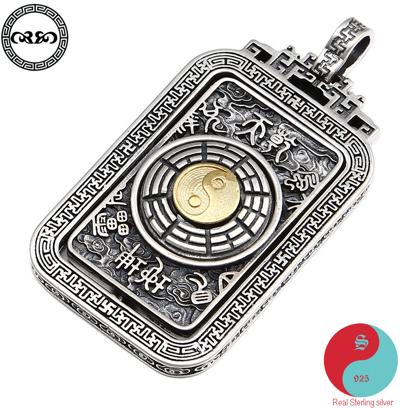 Rétro solide réel 925 argent Sterling collier vintage chanceux chinois rotation YIN YANG Tai chi collier pendentif pour hommes