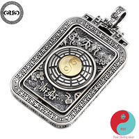 Retro Solid Real 925 Silver Sterling Necklace vintage lucky Chinese rotation YIN YANG Tai chi Gossip pendant necklace for men