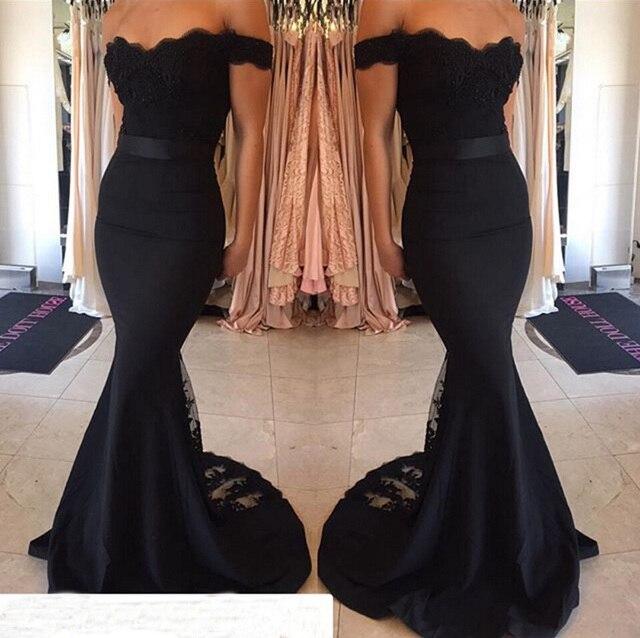 31ee59fe68e7 Bridesmaid Dress 2019 Black Lace Train Floor Length Off Shoulder Mermaid  Belt Hot Full Length Maid of Honor Wedding Party Dress
