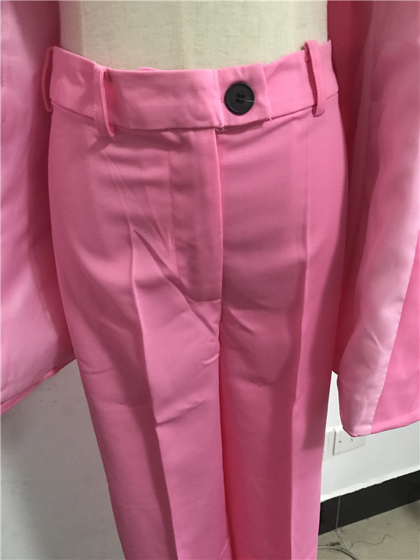 Image 5 - 2019 New Spring BF style Double breasted Button Women Pink Blazer High Waist Small Straight Pants Long Sleeve Suits 2 Pieces SetWomens Sets   -