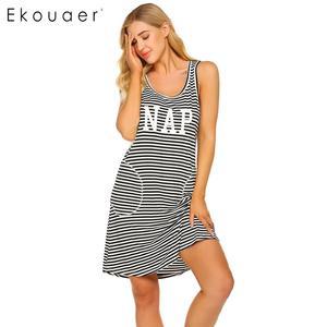 Image 4 - Ekouaer Women Striped Nightdress Summer Nightgown O Neck Sleeveless Letters Printed Stripes Loose Night Dress Female Sleepwear