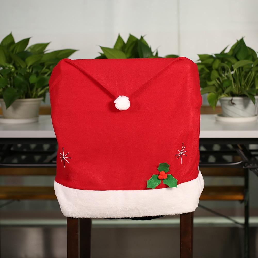 Christmas chair covers - 2016 Hort Santa Claus Chair Cover Red Hat Christmas Chair Back Cover Xmas Kitchen Dining Chair