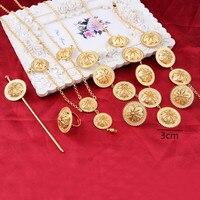 Bangrui Gold Plated Hair Pice Pendant Chain Earring Ring Hairpin Bracelet Eritrea Africa Habesha Wedding Jewelry