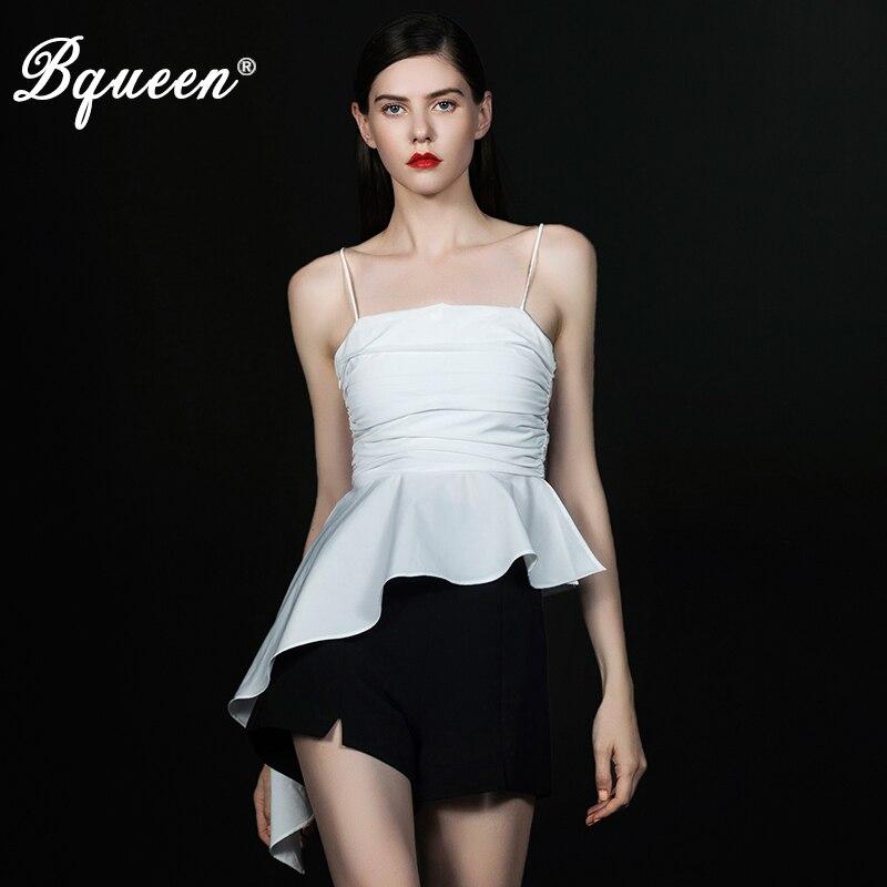 Débardeur pour femme Bqueen solide ruché moulante été pulls femme T-Shirt sangle Blouse mode