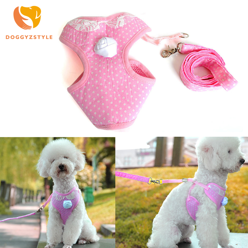 Dot Pet Dog Chest Vest Cloth Rose Decorate Harness Puppy Cat Leash for Small Dog leads Mesh Strap Set Comfort Dog Accessories