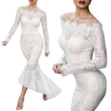 2019 New Yfashion Women Sexy Slim Lace Dress Elegant Wedding Fishtail Top Selling