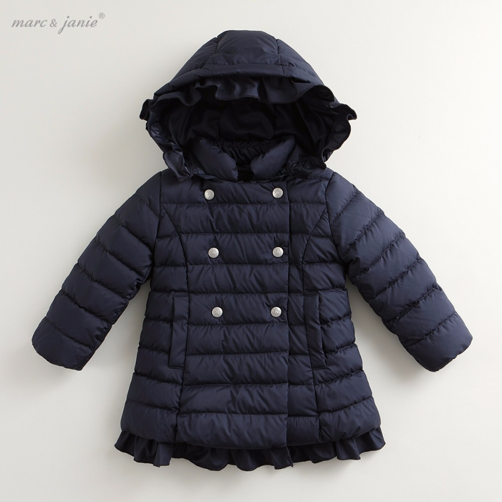 marc janie Winter Baby Toddler Girls' Outerwear Double Breasted Ultra Light Long Down Jacket 76028 baby winter outerwear