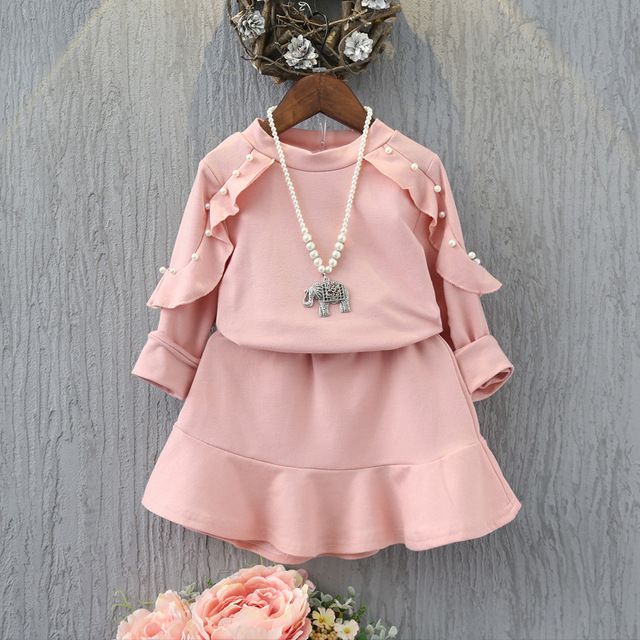 girls clothes set full sleeve pink suit shirt with skirt Lotus trimming  with phineston dress for baby girl autumn clothing