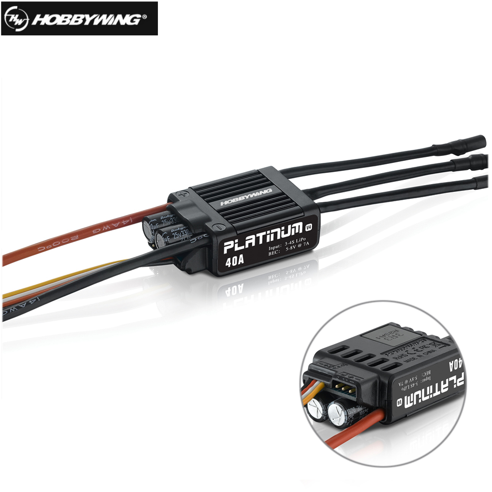Original Hobbywing Platinum 40A V4 Brushless Electronic Speed controller ESC for RC Drone Heli FPV Multi-Rotor hobbywing platinum 40a v4 esc 3 4s lipo25a v4 3 6s lipo platinum brushless esc speed controller for rc drone 450 480