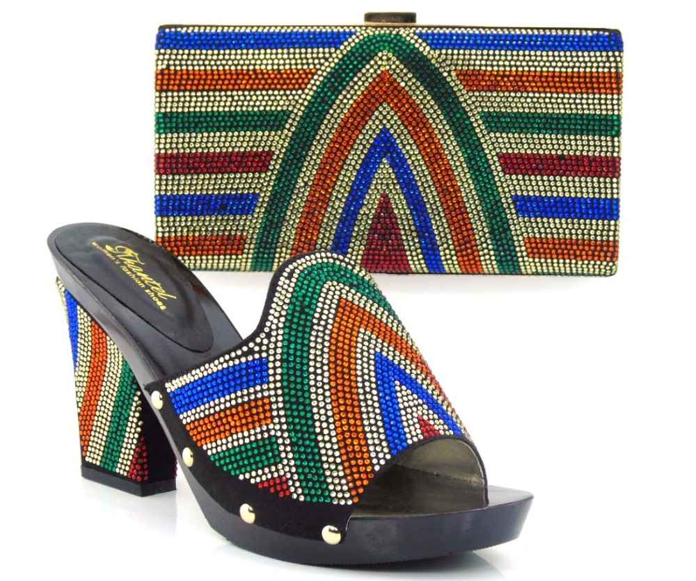 ФОТО Free Shipping!!!New arrival African Fashion Shoes and Matching Bags set,with plenty stone Italy Shoes and Bags black HVZ1-22