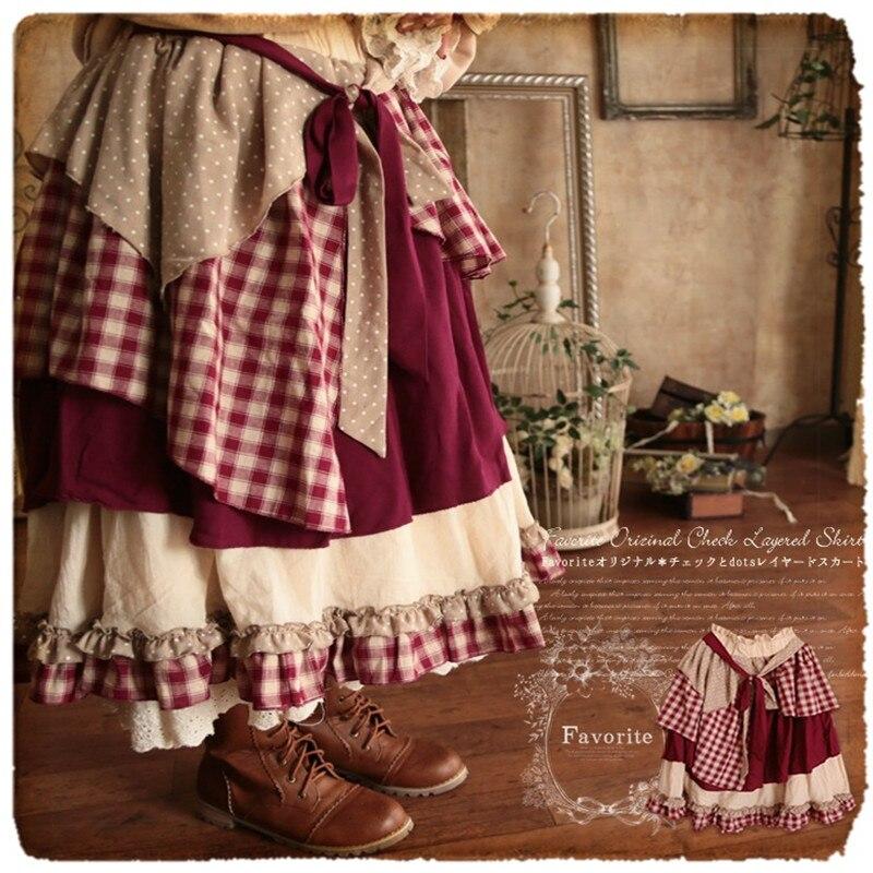 Vintage Mori Girl Preppy British Plaid Cute Princess Skirt Sweet Elastic Waist Women Large Size Skirts