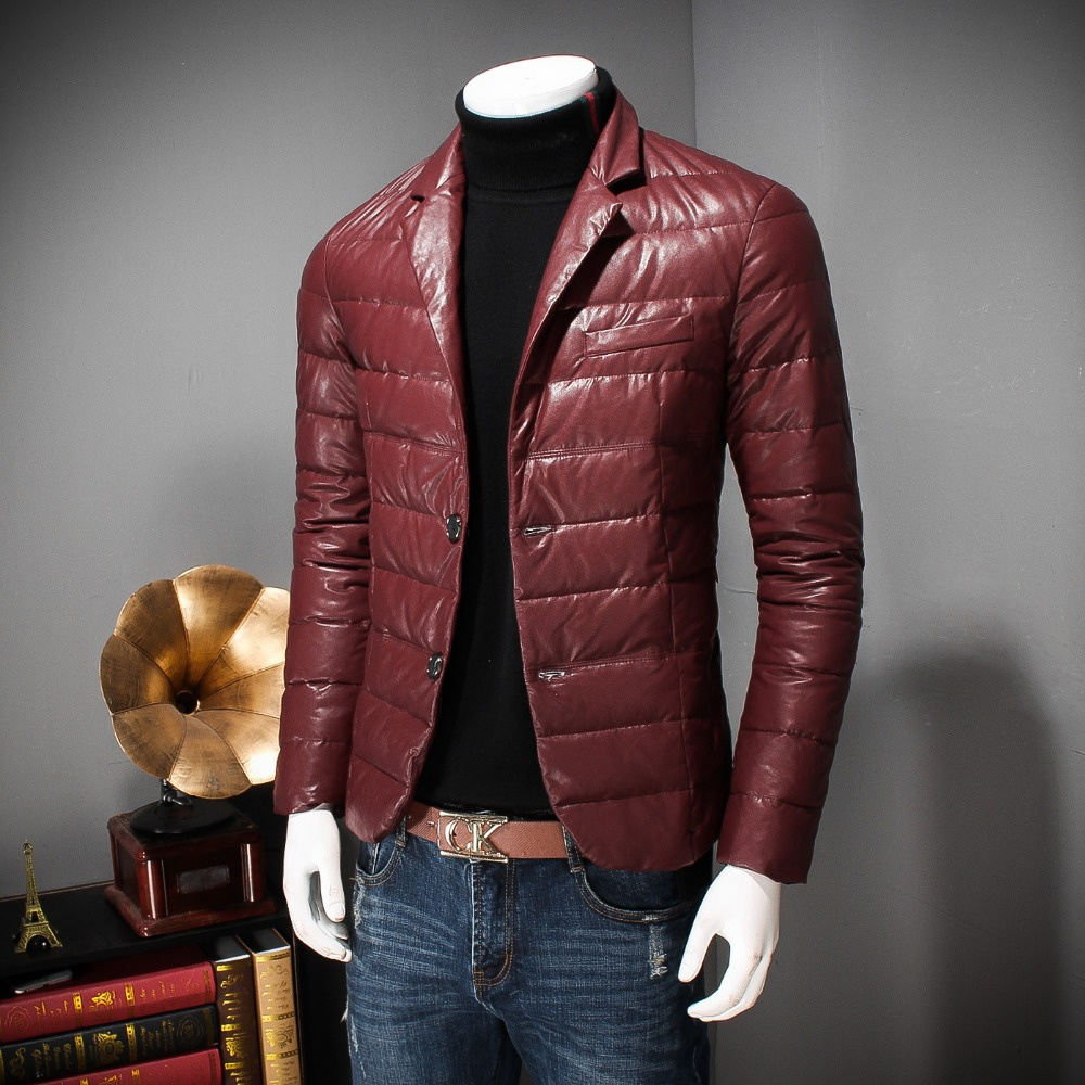 Британский бизнес мужской пуховик легкое зимнее пальто тонкий pu кожаный костюм воротник пуховик высокий блок дикий случайный скорпион