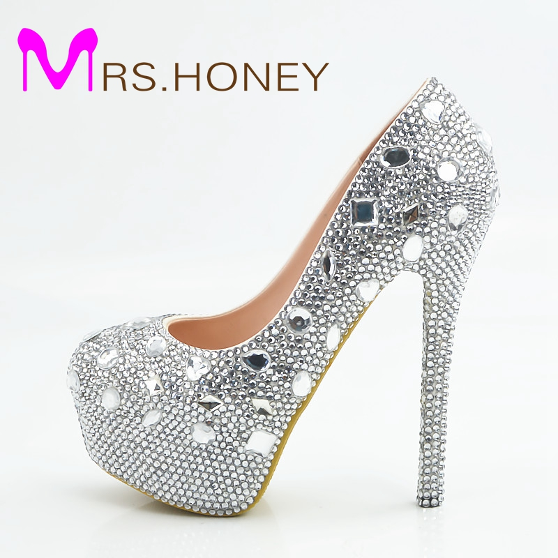 Rhinestone Wedding Shoes Silver Crystal Platform High Heel Women Shoes Wedding Dress Bridal Shoes Gorgeous Bridesmaid Pumps white ab crystal wedding shoes sparkling rhinestone bridal dress shoes plus size platform high heel shoes cinderella prom pumps