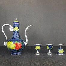 High-grade cloisonne silver wine glass set 999 sterling enamel handmade cup