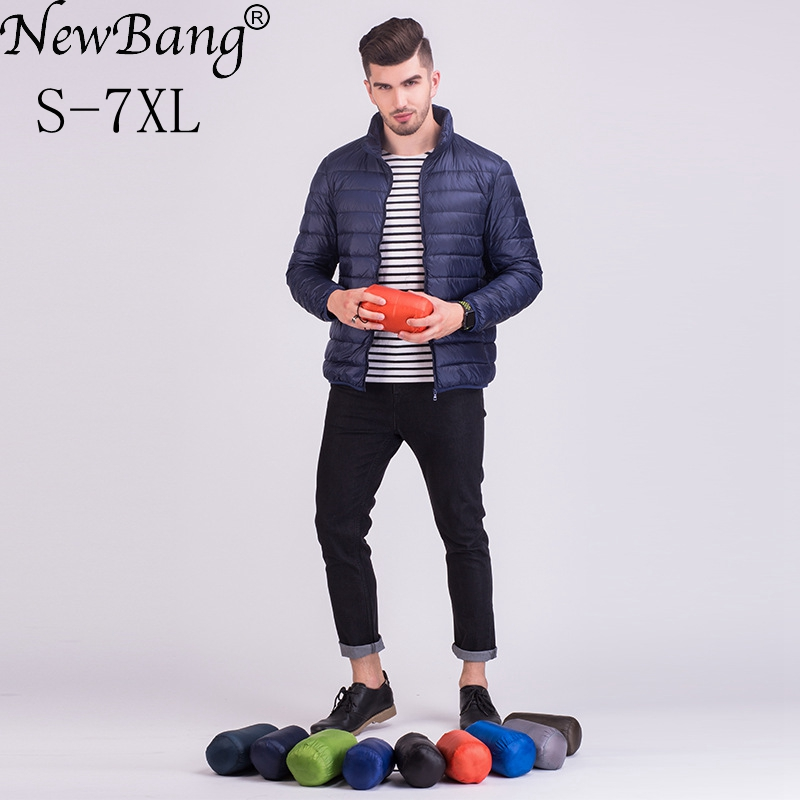 NewBang Brand 6XL 7XL Plus Winter Jacket Men Ultra Light Down Jacket Men Larger Size Windproof Lightweight Portable Warm Coats