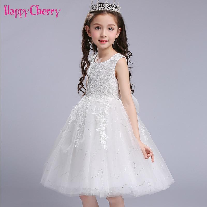 Lace Girls Elegant Wedding Dress Summer Kids Graduation Prom Party Dresses  Teenagers Clothing Bowknot White Princess 2baaa6a2149a