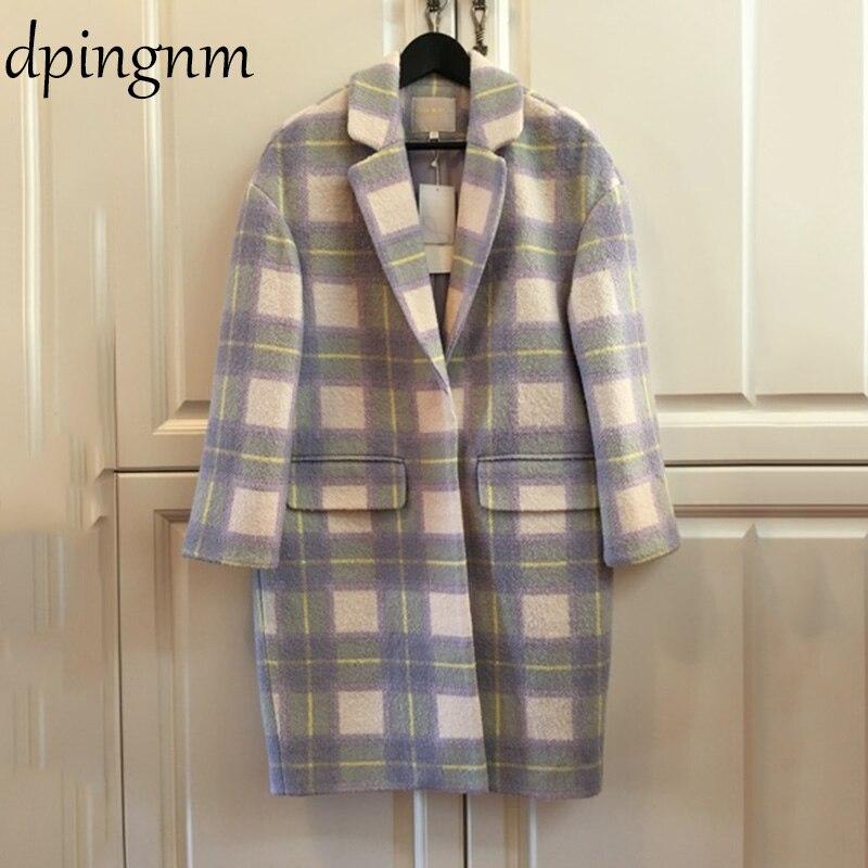 Femmes laine manteau Plaid femmes lâche Long laine manteau hiver manteau laine pardessus 2018 manteaux